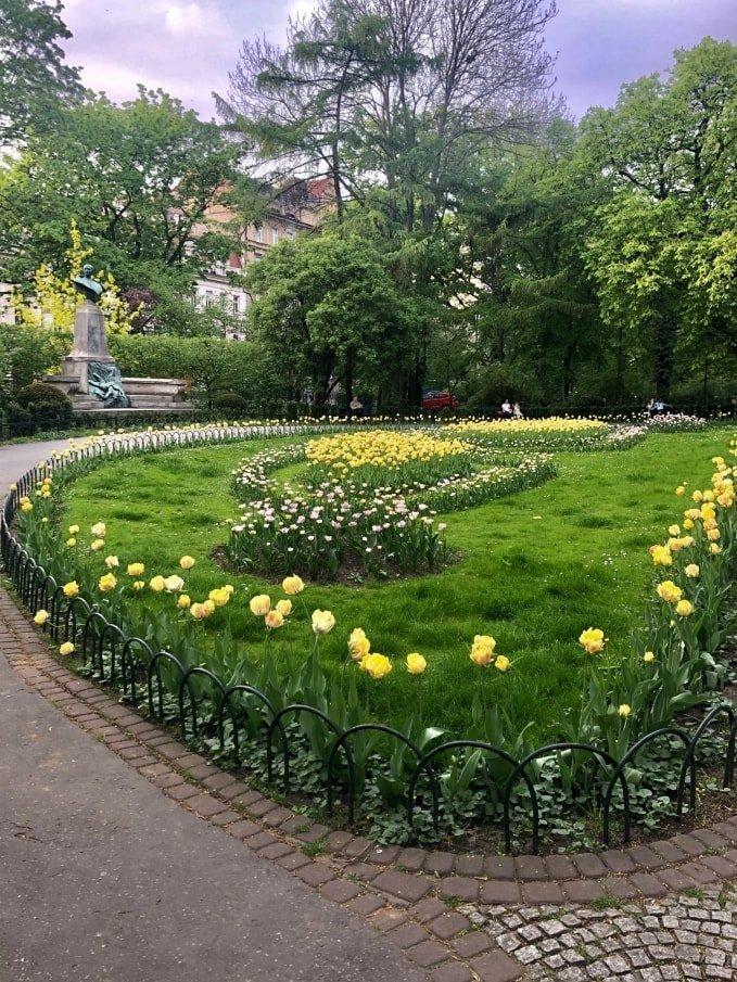 Planty park di Cracovia in primavera