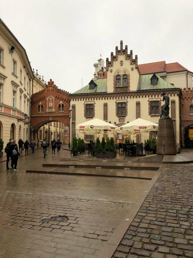 Scorcio delle strade del centro storico di Cracovia