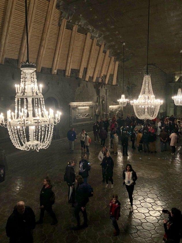 Lampadari in sale nella Cappella di Santa Kinga - Miniere di sale di Wieliczka, Cracovia